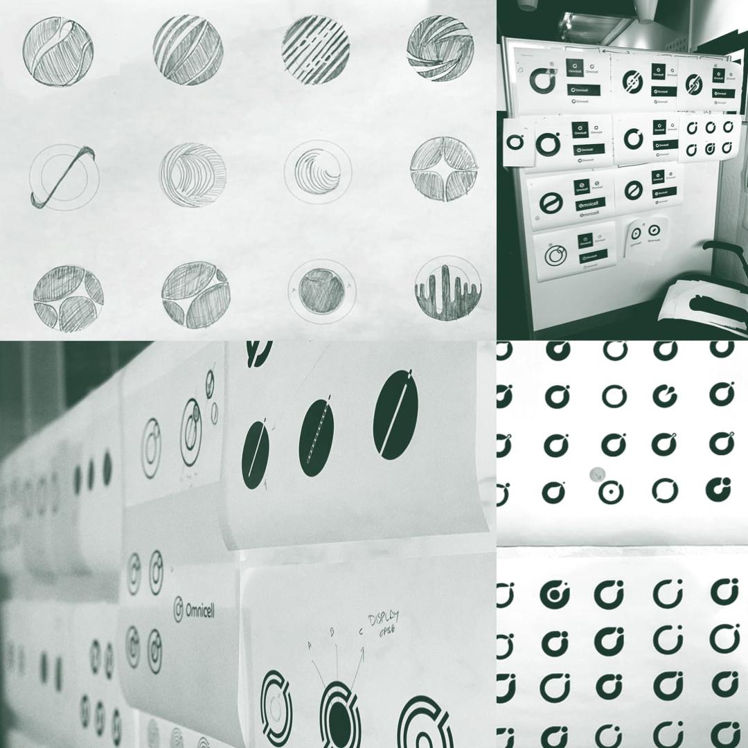Omnicell logo design sketches